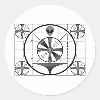 Alien Test Pattern Round Sticker