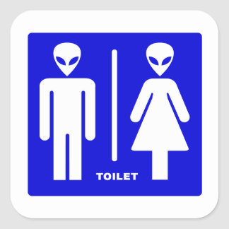 Alien Toilet Square Sticker