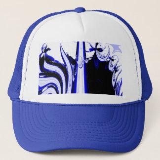Alien Tropics - Fractal Art Design. Blue and White Trucker Hat