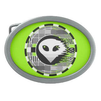 Alien TV Round buckle green oval Belt Buckle