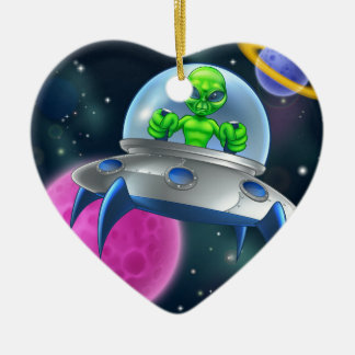 Alien UFO Flying Saucer in Space Ceramic Heart Decoration