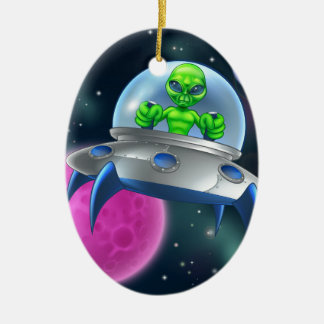 Alien UFO Flying Saucer in Space Ceramic Oval Decoration