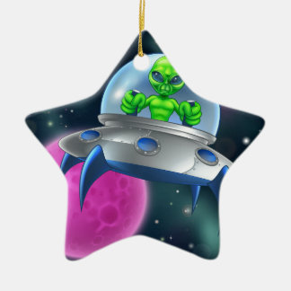 Alien UFO Flying Saucer in Space Ceramic Star Decoration