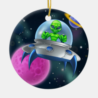 Alien UFO Flying Saucer in Space Round Ceramic Decoration