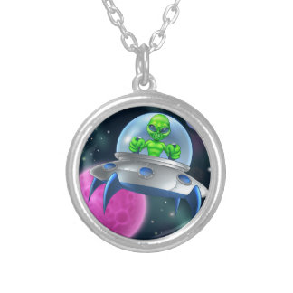 Alien UFO Flying Saucer in Space Silver Plated Necklace