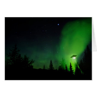 Alien UFO in Alaskan Sky Greeting Card