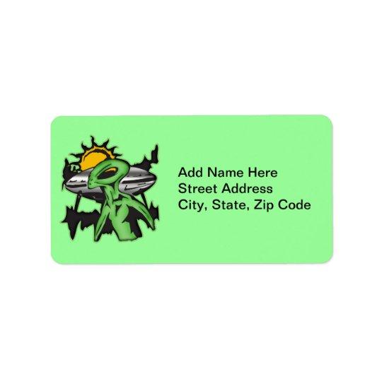 Alien UFO Label