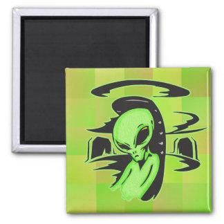 Alien UFO Pilot Square Magnet