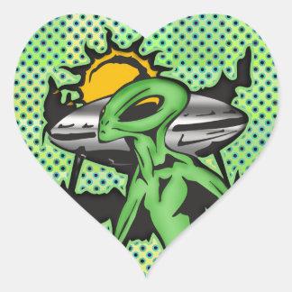Alien UFO Heart Sticker