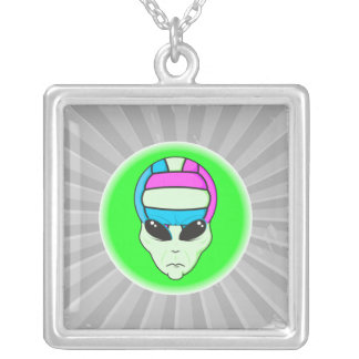 alien volleyball extreme sports design 2 square pendant necklace
