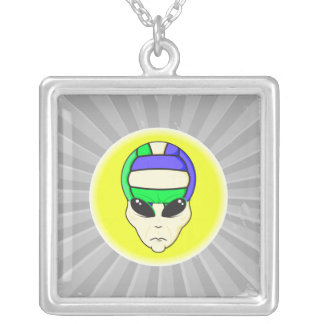 alien volleyball extreme sports design square pendant necklace