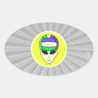alien volleyball extreme sports design oval sticker