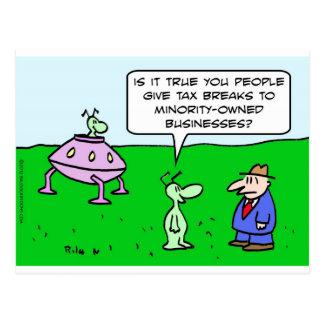 Alien wants tax breaks for minority-owned business postcard