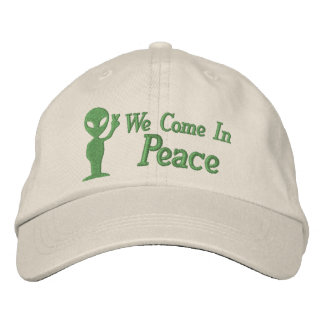 Alien We Come In Peace Embroidered Baseball Caps