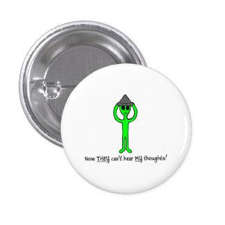 Alien wearing a tin foil hat button/lapel pin
