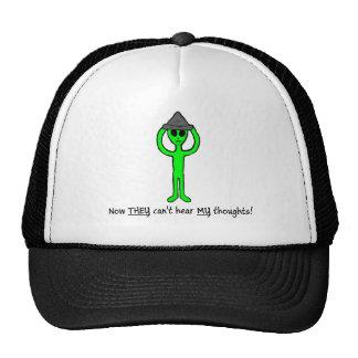 Alien wearing a tin foil hat hat