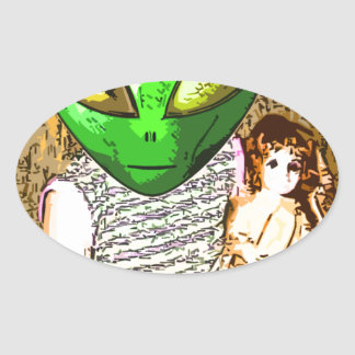 alien with doll oval sticker