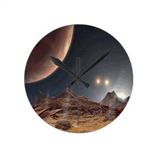 Alien World Round Clock