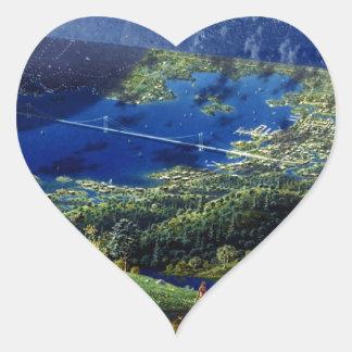 Alien World Space Station Heart Stickers