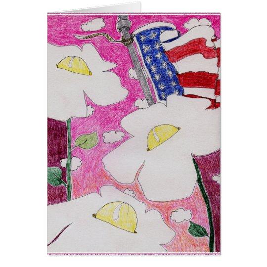 Alienated Soul: Three Flowers US Flag Pink Sky Card