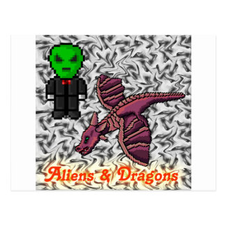 aliens and Dragons Postcard