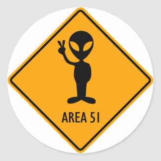 Aliens Area 51 Roswell Yellow Diamond Warning Sign Classic Round Sticker
