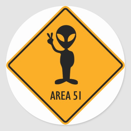 Aliens Area 51 Roswell Yellow Diamond Warning Sign Stickers