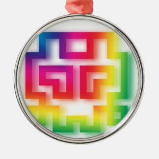 Aliens' aren't Gray - they're Rainbow ! Silver-Colored Round Decoration