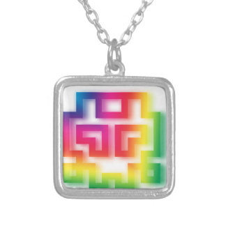 Aliens' aren't Gray - they're Rainbow ! Silver Plated Necklace