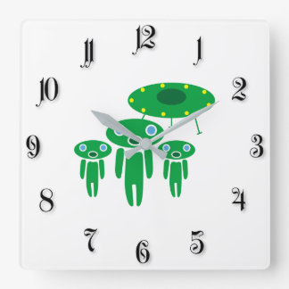 Aliens arrival square wall clock