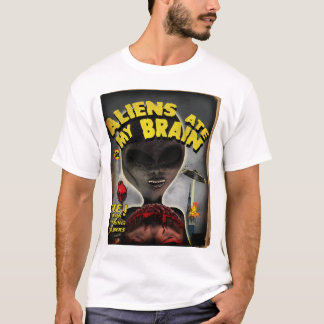 Aliens Ate My Brain Pulp Cover Style T-Shirt