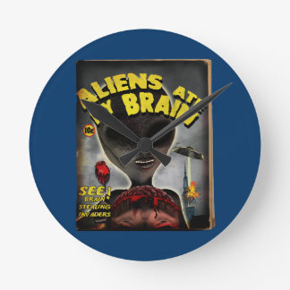 Aliens Ate My Brain Pulp Cover Style Wall Clock