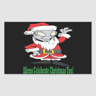 Aliens Celebrate Christmas Too Rectangle Stickers
