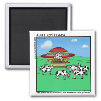 Aliens Cows Square Magnet