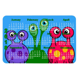 Aliens From Outer Space 2018 Calendar Rectangular Photo Magnet