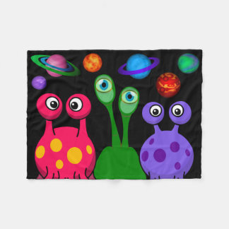 Aliens In Outer Space Fleece Blanket