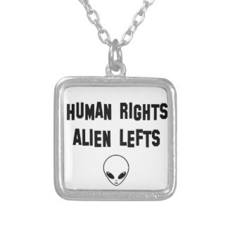 aliens silver plated necklace