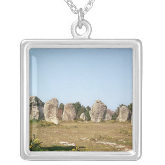 Alignment of standing stones, Megalithic Silver Plated Necklace