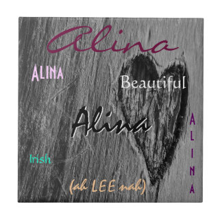 Alina Name Irish Meaning with Black Heart Small Square Tile