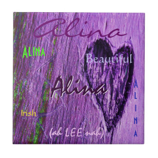 Alina Name Irish Meaning with Purple Heart Small Square Tile