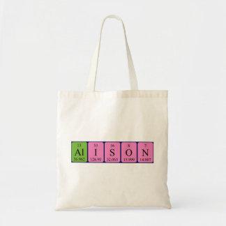 Alison periodic table name tote bag