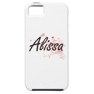 Alissa Artistic Name Design with Hearts iPhone 5 Cases