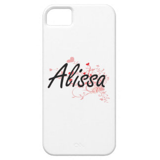 Alissa Artistic Name Design with Hearts iPhone 5 Covers