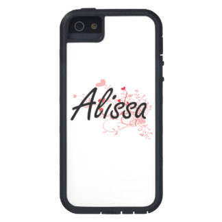 Alissa Artistic Name Design with Hearts iPhone 5 Case