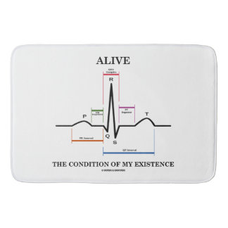 Alive The Condition Of My Existence ECG Heartbeat Bath Mats