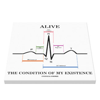 Alive The Condition Of My Existence ECG Heartbeat Canvas Print