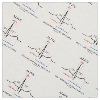 Alive The Condition Of My Existence ECG Heartbeat Fabric