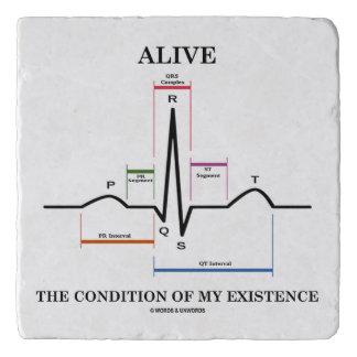 Alive The Condition Of My Existence ECG Heartbeat Trivets
