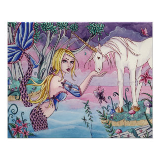 Aliya - Mermaid & Unicorn Poster