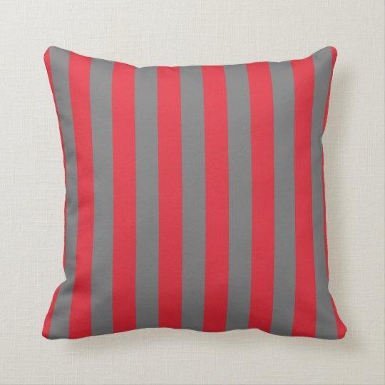 Alizarin Crimson and Grey Stripes Pillow